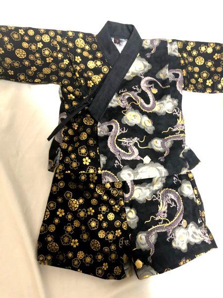 和柄手作り甚平 男の子ベビー服