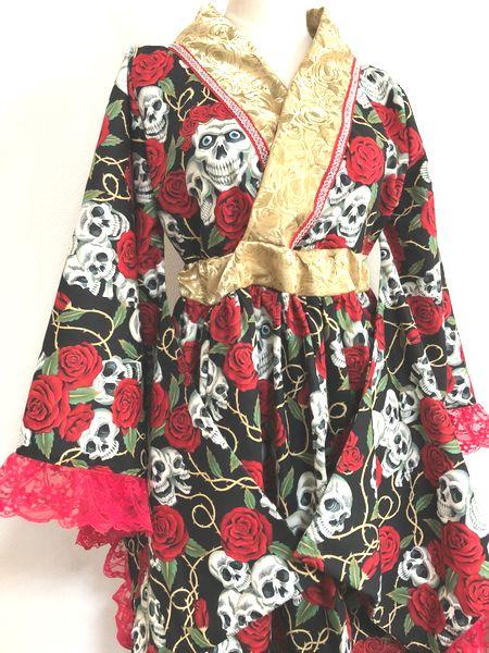 スカルと薔薇柄着物ドレス