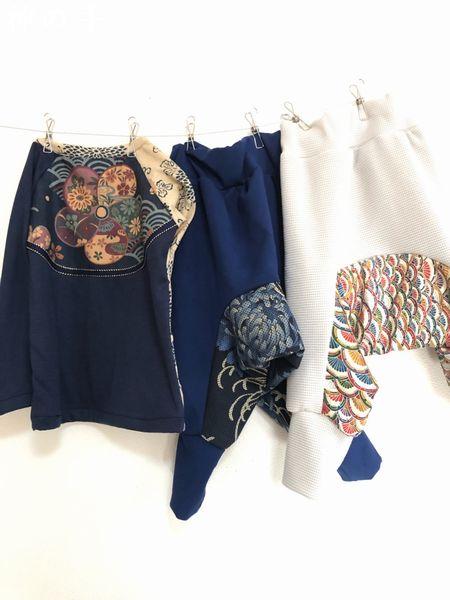 手作り子供服長袖Tシャツとパンツ