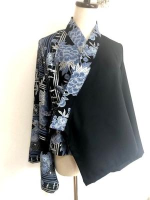 和柄黒青レディース羽織り