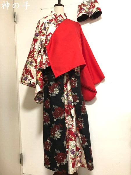和太鼓衣装に赤黒レディース