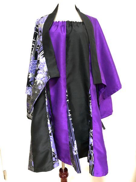 和装セットアップスーツ 黒紫