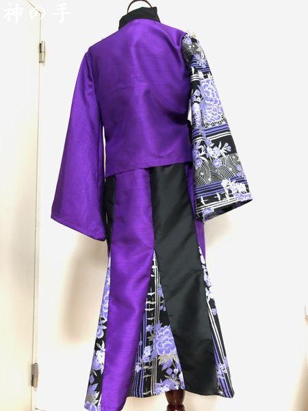 羽織り&マーメイドスカート 黒紫 ハンドメイド