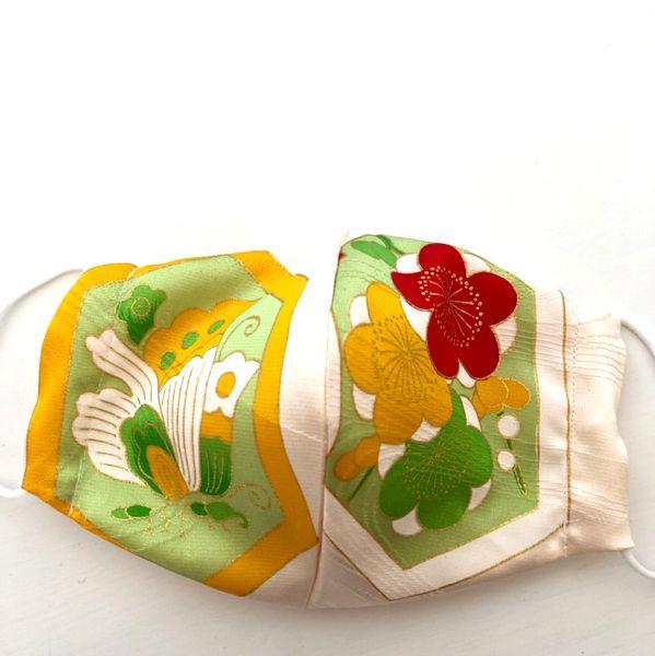 ハンドメイド 和柄布マスク 黄色、グリーン、ゴールド