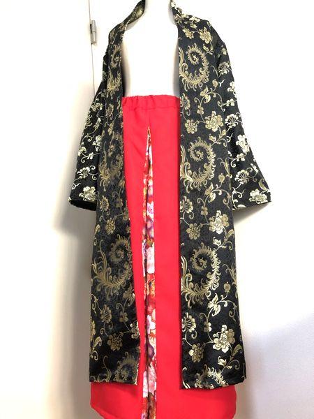 織り柄長羽織り&袴パンツ