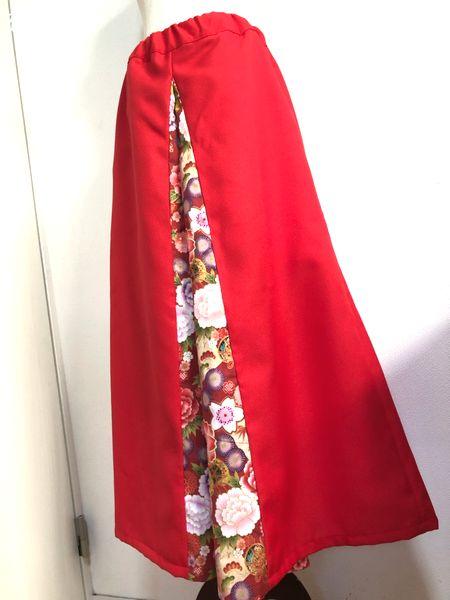 レディース和柄袴風ワイドパンツ