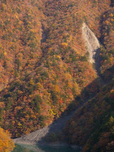 畑薙第一ダム下流数キロ地点の紅葉