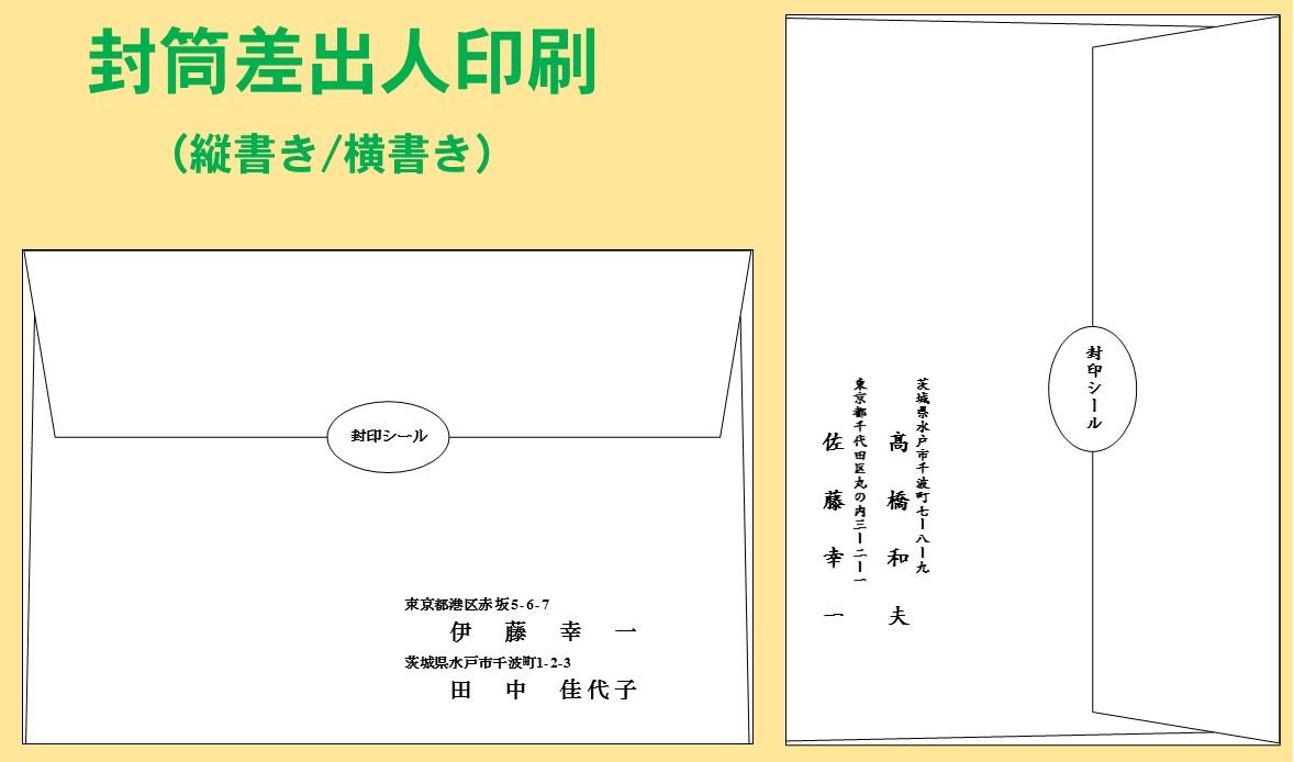 結婚式招待状封筒差出人印刷見本