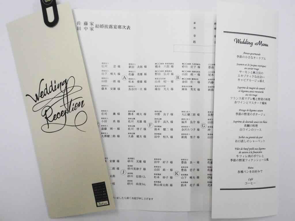 結婚式メニュー表付席次表