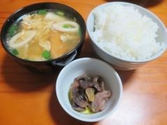 スープ、ご飯、砂肝のコンフィ