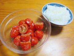 ミニトマトのゴマだれあえ、ご飯