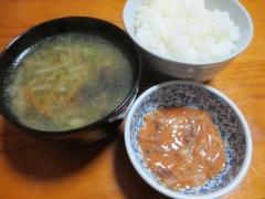 スープ、ご飯、イカの塩辛