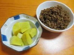 サツマイモの煮物、ゴボウふりかけ