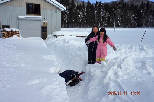 大晦日雪遊び