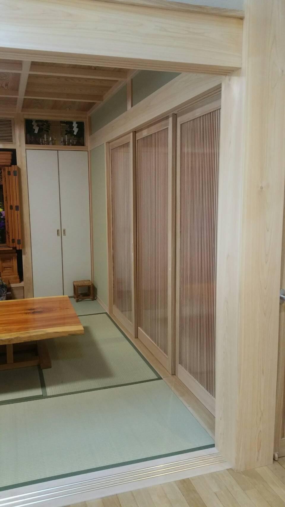 木製建具 引き戸 三連