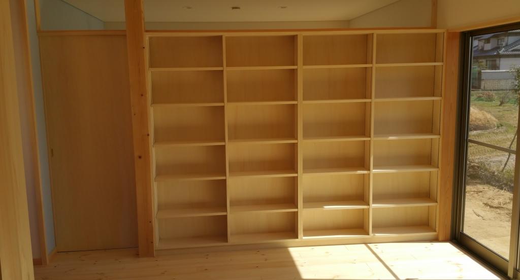 造り付けの本棚 間仕切り 山下建具店