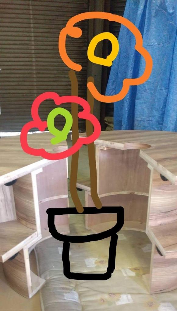 ドーナツ型の家具 メラミン化粧貼り 株式会社山下建具店