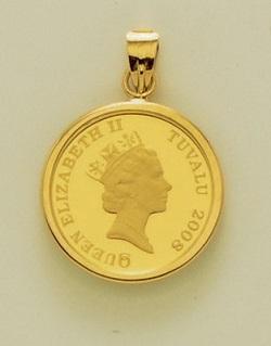 金製品 画像 K24 K18 1/25オンス ゴールドツバルコインペンダントトップ 本体K24 枠K18