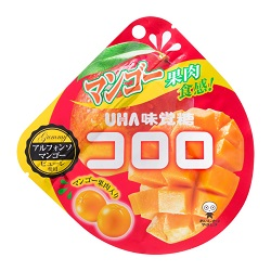 お菓子 画像 コロロ アルフォンソマンゴー UHA味覚糖 ピューレ使用 マンゴー果肉入り マンゴー果肉食感