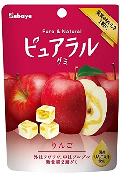 お菓子 画像 ピュアラルグミ りんご Kabaya 果実のおいしさ1粒に 国産りんご果汁使用 果汁量2倍*当社従来商品比 外はフワフワ中はプルプル やわらか食感2層グミ