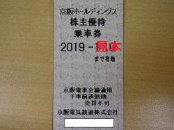 株主優待 画像 京阪ホールディングス 乗車証 2019.7