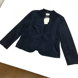 古着 画像 テーラードジャケット ネイビー ベロア Aylesbury L 25号 日本製 東京スタイル レディース 美品