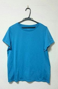 古着 画像 ドライEXクルーネックTシャツ ブルー UNIQLO Lサイズ レディース 美品