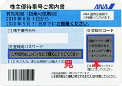 株主優待 画像 ANA 2019.6-2020.5 青