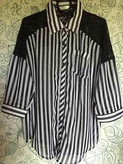 古着 画像 シースルーシャツ ストライプ柄 PLYMTONE Mサイズ レディース 美品