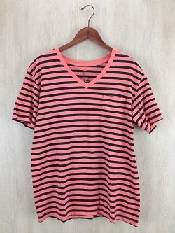 古着 画像 VネックTシャツ ピンク ボーダー Saint Joie 13号 レディース 美品