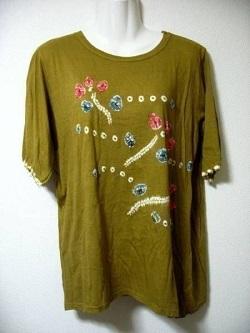 古着 画像 リネンTシャツ グリーン DECORO サイズ46 レディース 美品