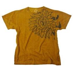 古着 画像 Tシャツ からし色 花柄 fonte*yo Mサイズ レディース 美品