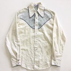 古着 画像 ウエスタンシャツ 白 青 gap Lサイズ レディース 美品