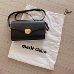 ショルダーバッグ 画像 marie claire マリクレール 黒 レザー 美品