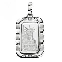 プラチナ製品 画像 Pt999.5 ジュンプラチナ ペンダントトップ リバティ・インゴッド デザイン枠 Pt900 ダイヤモンド
