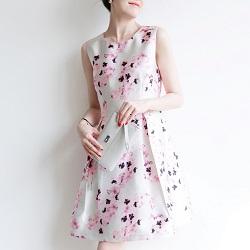 古着 画像 ノースリーブワンピース 花柄 ピンク系 13号 レディース 美品