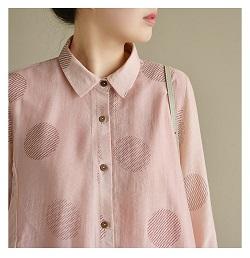 古着 画像 七分袖 シフォンシャツ ピンク Mサイズ レディース 美品