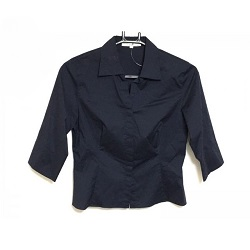 古着 画像 七分袖シャツ ネイビー 23区 Lサイズ レディース 美品