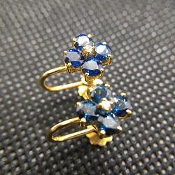 金製品 画像 K14 14金 イヤリング サファイヤ ダイヤモンド