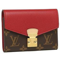 ルイヴィトン 画像 三つ折り財布 モノグラム ポルトフォイユパラスコンパクト スリーズ 赤
