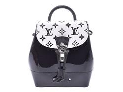 ルイヴィトン 画像 リュック 黒 白 モノグラムヴェルニ ホットスプリングスMINI