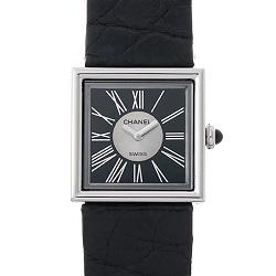 シャネル 画像 腕時計 マドモアゼル 黒 プラチナ クォーツ