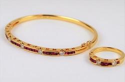 金製品 画像 K18 18金 ブレスレット リングセット ダイヤ ルビー コンビ