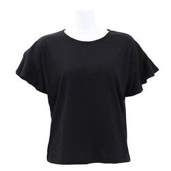 古着 画像 半袖カットソー 袖フリル 黒 iNtimite フリーサイズ レディース 美品
