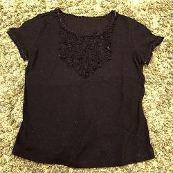古着 画像 半袖カットソー フリル 黒 Tricoti Tricota トリコティトリコッタ Mサイズ レディース 美品