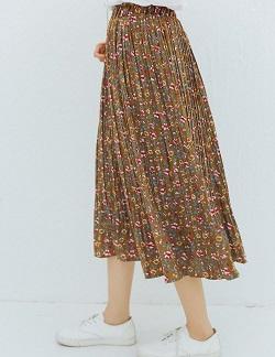 古着 画像 ロングスカート ブラウン 花柄 VIVALDI W61 レディース 美品