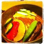 夏野菜の冷やしカレーうどん