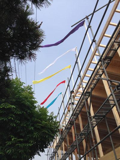 上棟式・五色の旗