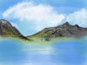 山の湖途中