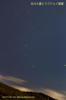 ラブジョイ彗星と北斗七星